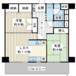 63.38㎡の2LDK。階下に住戸がない1階のお部屋です。南面約8.5mのワイドスパン住戸。(間取)