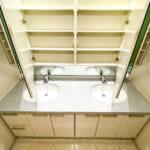 三面鏡収納付き洗面化粧台。(内装)