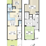 85.33平米の3LDK。専用庭付き、一戸建て感覚でお住まいいただける2階建てテラスハウス。(間取)