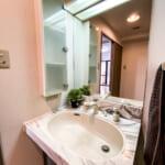 鏡が大きく広い印象の洗面化粧台。(内装)