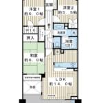 南東向き3階。71.16㎡の3LDK。リビング床暖房など設備充実。(間取)