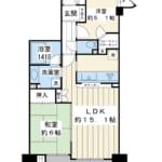 西向き棟の6階。旧江戸川に面した眺めの良いお部屋です。(間取)