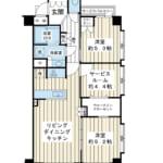 5階建ての2階。階下に住戸がないお部屋。開放的な三方角部屋。(間取)