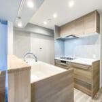 タッチレス水栓(浄水器内蔵)や食洗機など設備充実のキッチン。(キッチン)