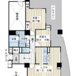 72.73㎡の2LDK。広い間取りから25階建て最上階へお住み替えはいかがでしょうか。(間取)